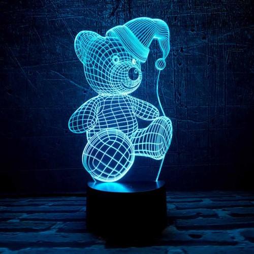"""3D светильник """"Мишка новогодний""""-3"""