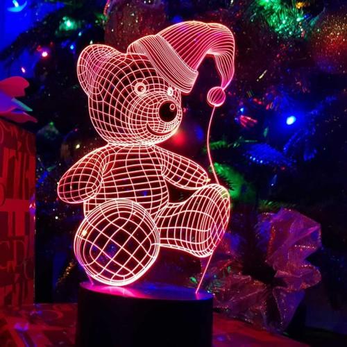 """3D светильник """"Мишка новогодний"""""""