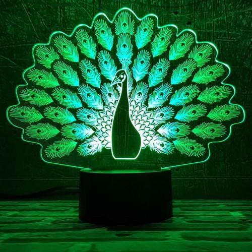 """3D светильник-ночник """"Павлин"""""""