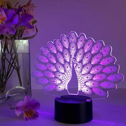 """3D светильник """"Павлин""""-3"""