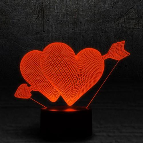 """3D светильник """"Два сердца""""-1"""