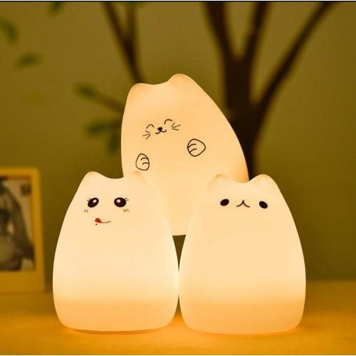 """Сенсорный силиконовый ночник-игрушка """"Веселый котенок с язычком""""-4"""