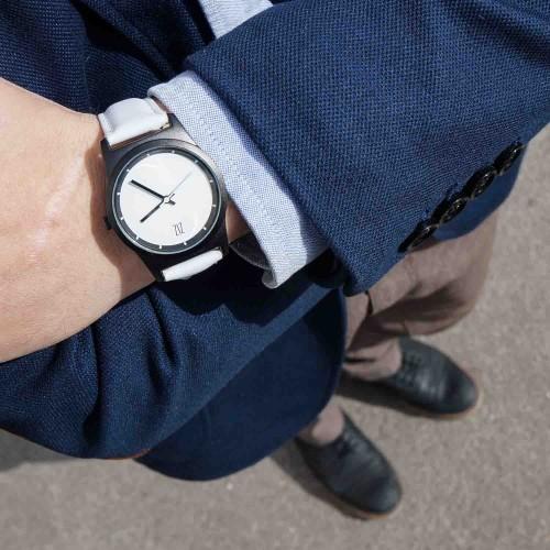 """Набор """"Часы 6 seconds + кожаный ремешок"""" Белые BW-2"""