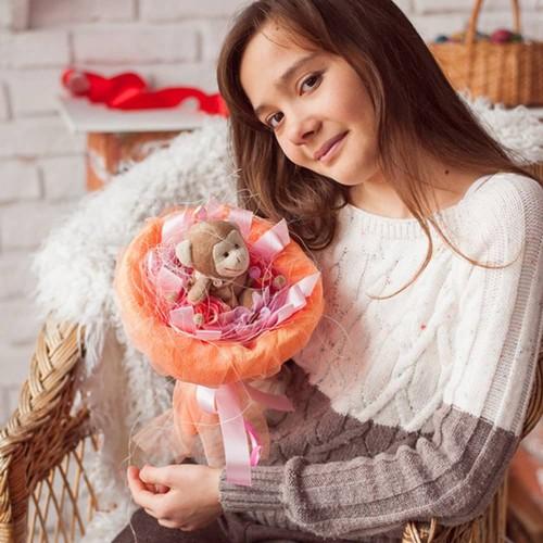 """Букет из мягких игрушек """"Апельсиновое настроение""""-4"""