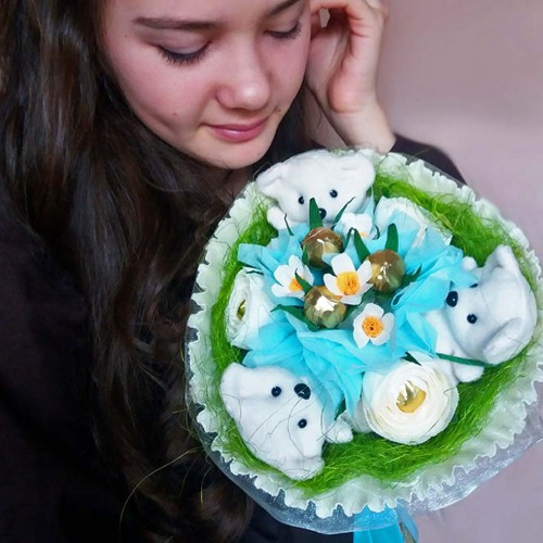 """Букет из игрушек и конфет """"Весенний""""-7"""