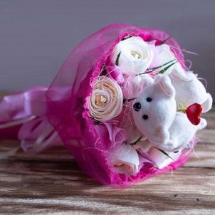 """Букет из игрушек и конфет """"Влюбленные мишки""""-1"""
