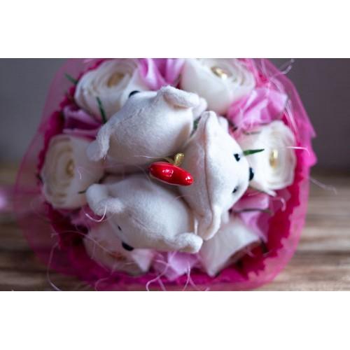 """Букет из игрушек и конфет """"Влюбленные мишки""""-2"""