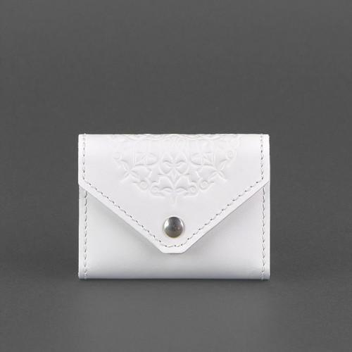 Кожаный кард кейс - гармошка 3.0 Белый с мандалой