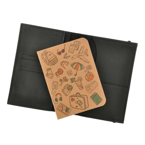 Кожаная обложка на паспорт 2.0 Графит и блокнотик-7