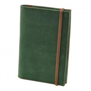 Кожаная обложка на паспорт 2.0 Изумруд-орех и блокнотик-1