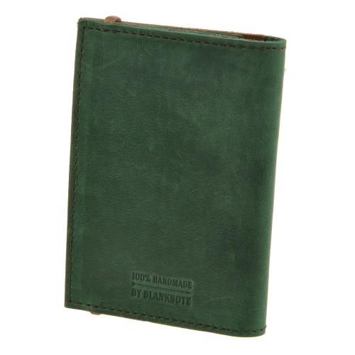Кожаная обложка на паспорт 2.0 Изумруд-орех и блокнотик-2
