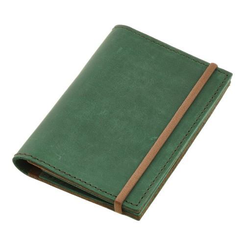 Кожаная обложка на паспорт 2.0 Изумруд-орех и блокнотик-3