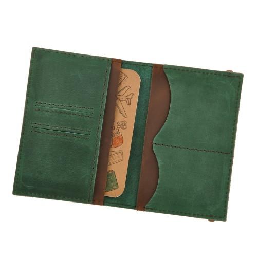 Кожаная обложка на паспорт 2.0 Изумруд-орех и блокнотик-4