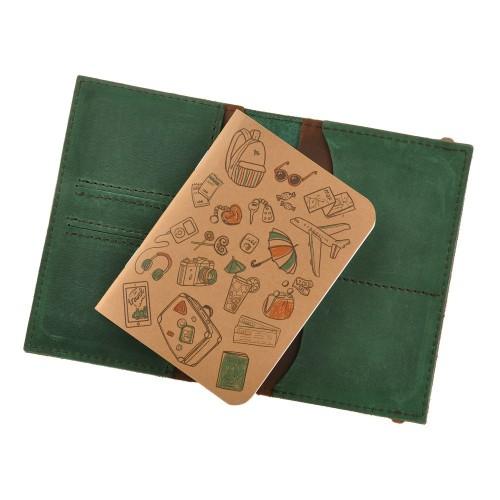 Кожаная обложка на паспорт 2.0 Изумруд-орех и блокнотик-5