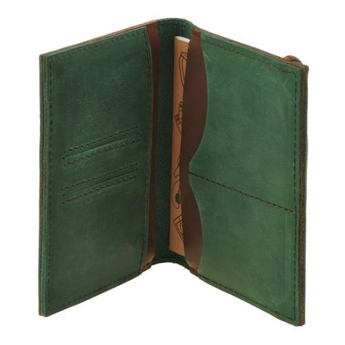 Кожаная обложка на паспорт 2.0 Изумруд-орех и блокнотик-6