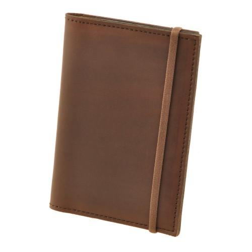Кожаная обложка на паспорт 2.0 Орех и блокнотик