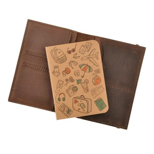 Кожаная обложка на паспорт 2.0 Орех и блокнотик-5