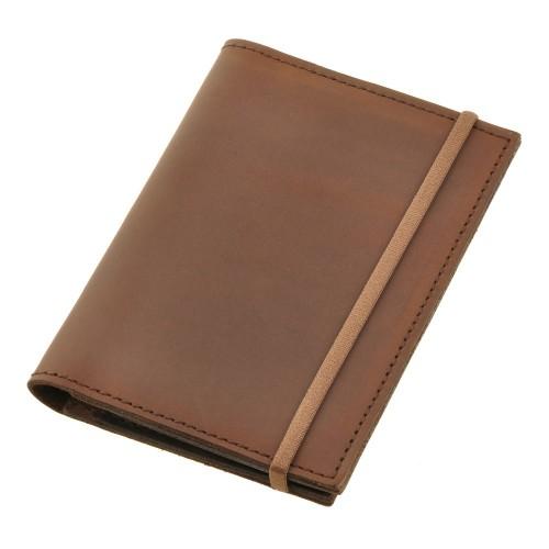 Кожаная обложка на паспорт 2.0 Орех и блокнотик-3