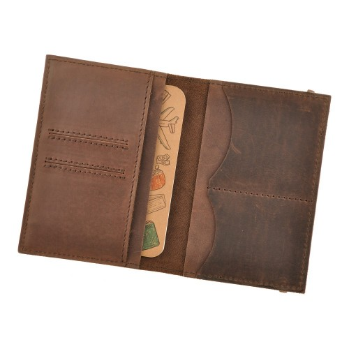 Кожаная обложка на паспорт 2.0 Коньяк и блокнотик-3