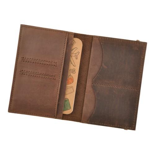 Кожаная обложка на паспорт 2.0 Орех и блокнотик-4