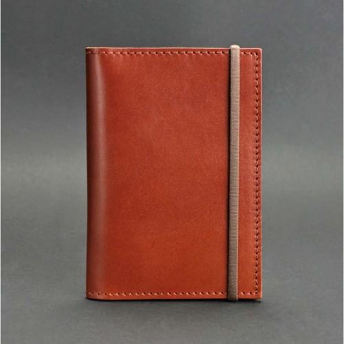 Кожаная обложка на паспорт 2.0 Коньяк и блокнотик