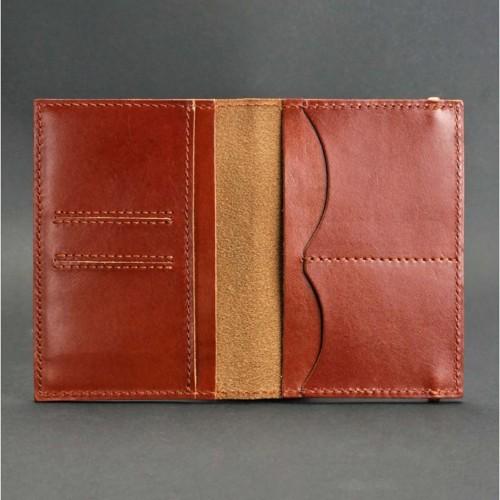 Кожаная обложка на паспорт 2.0 Коньяк и блокнотик-4