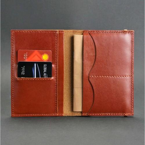 Кожаная обложка на паспорт 2.0 Коньяк и блокнотик-7