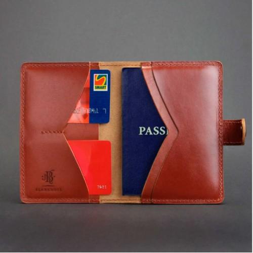 Кожаная обложка на паспорт 3.0 Коньяк-2
