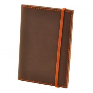 Кожаная обложка на паспорт 2.0 Орех-апельсин и блокнотик-1