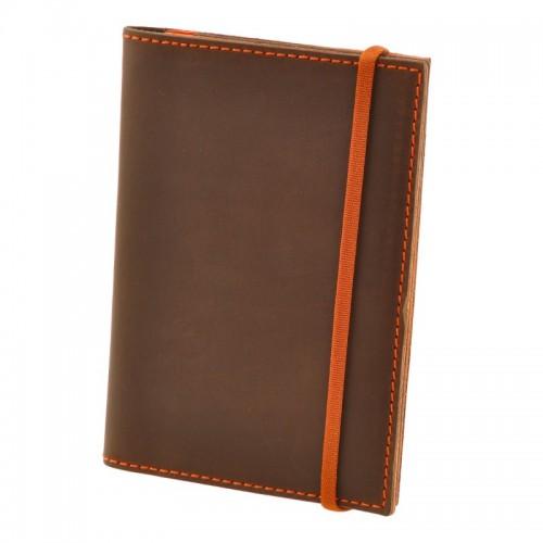 Кожаная обложка на паспорт 2.0 Орех-апельсин и блокнотик