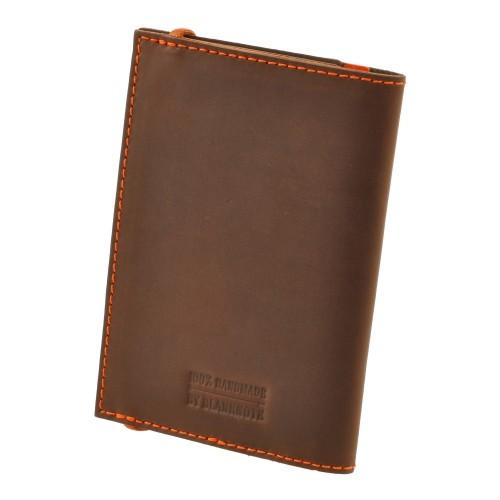 Кожаная обложка на паспорт 2.0 Орех-апельсин и блокнотик-4