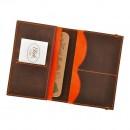 Кожаная обложка на паспорт 2.0 Орех-апельсин и блокнотик-2