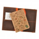 Кожаная обложка на паспорт 2.0 Орех-апельсин и блокнотик-5