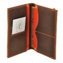 Кожаная обложка на паспорт 2.0 Орех-апельсин и блокнотик-3