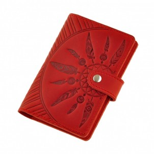 "Кожаная обложка на паспорт ""Инди"" Коралл-1"