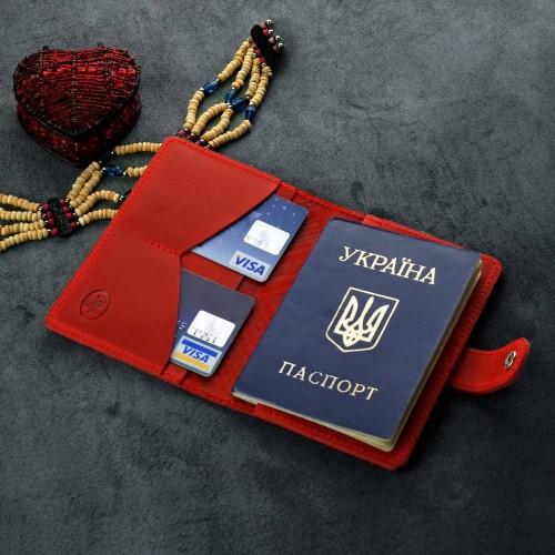 "Кожаная обложка на паспорт ""Инди"" Коралл-5"