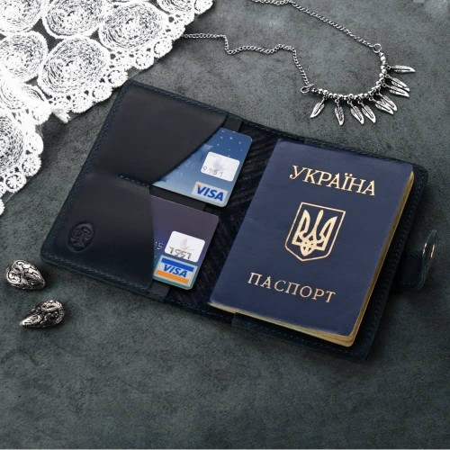"Кожаная обложка на паспорт ""Инди"" Ночное небо-6"