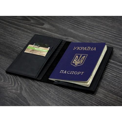 "Кожаная обложка на паспорт ""Карбон"" 2.0 Графит-4"