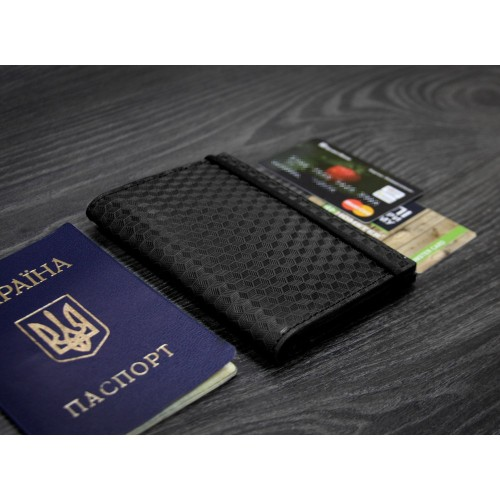 "Кожаная обложка на паспорт ""Карбон"" 2.0 Графит-5"