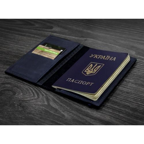 "Кожаная обложка на паспорт ""Карбон"" 2.0 Ночное небо-3"