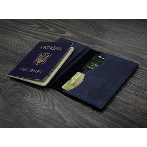 "Кожаная обложка на паспорт ""Карбон"" 2.0 Ночное небо-6"