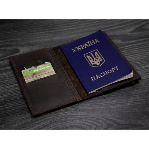 "Кожаная обложка на паспорт ""Карбон"" 2.0 Орех-5"