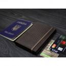 "Кожаная обложка на паспорт ""Карбон"" 2.0 Орех-6"