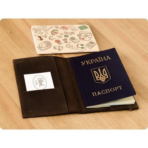 Кожаная обложка на паспорт 1.0 Орех-3