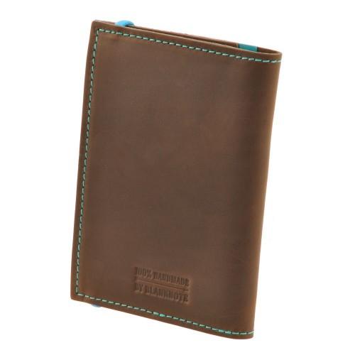 Кожаная обложка на паспорт 2.0 Орех-Тиффани и блокнотик-5