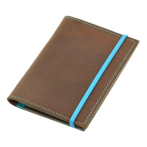 Кожаная обложка на паспорт 2.0 Орех-Тиффани и блокнотик-2