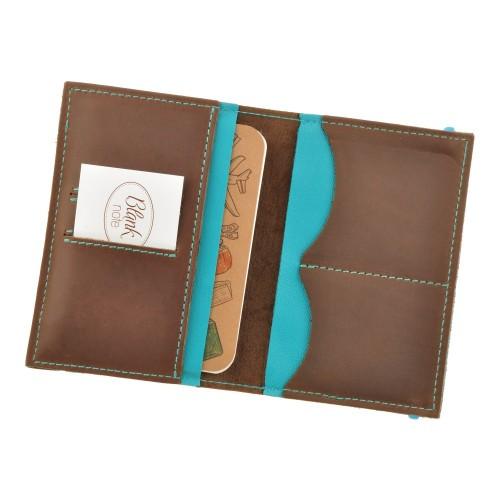 Кожаная обложка на паспорт 2.0 Орех-Тиффани и блокнотик-6