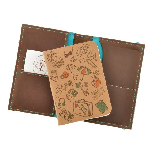 Кожаная обложка на паспорт 2.0 Орех-Тиффани и блокнотик-3