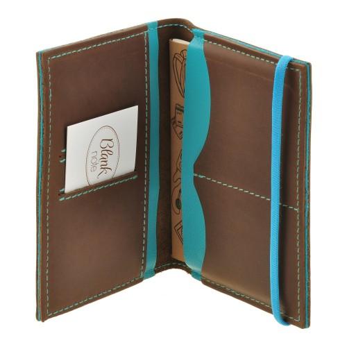 Кожаная обложка на паспорт 2.0 Орех-Тиффани и блокнотик-4