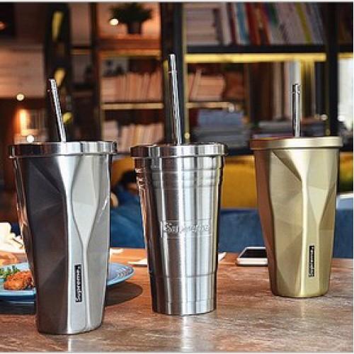 Металлический стакан Starbucks Silver с крышкой и трубочкой-3